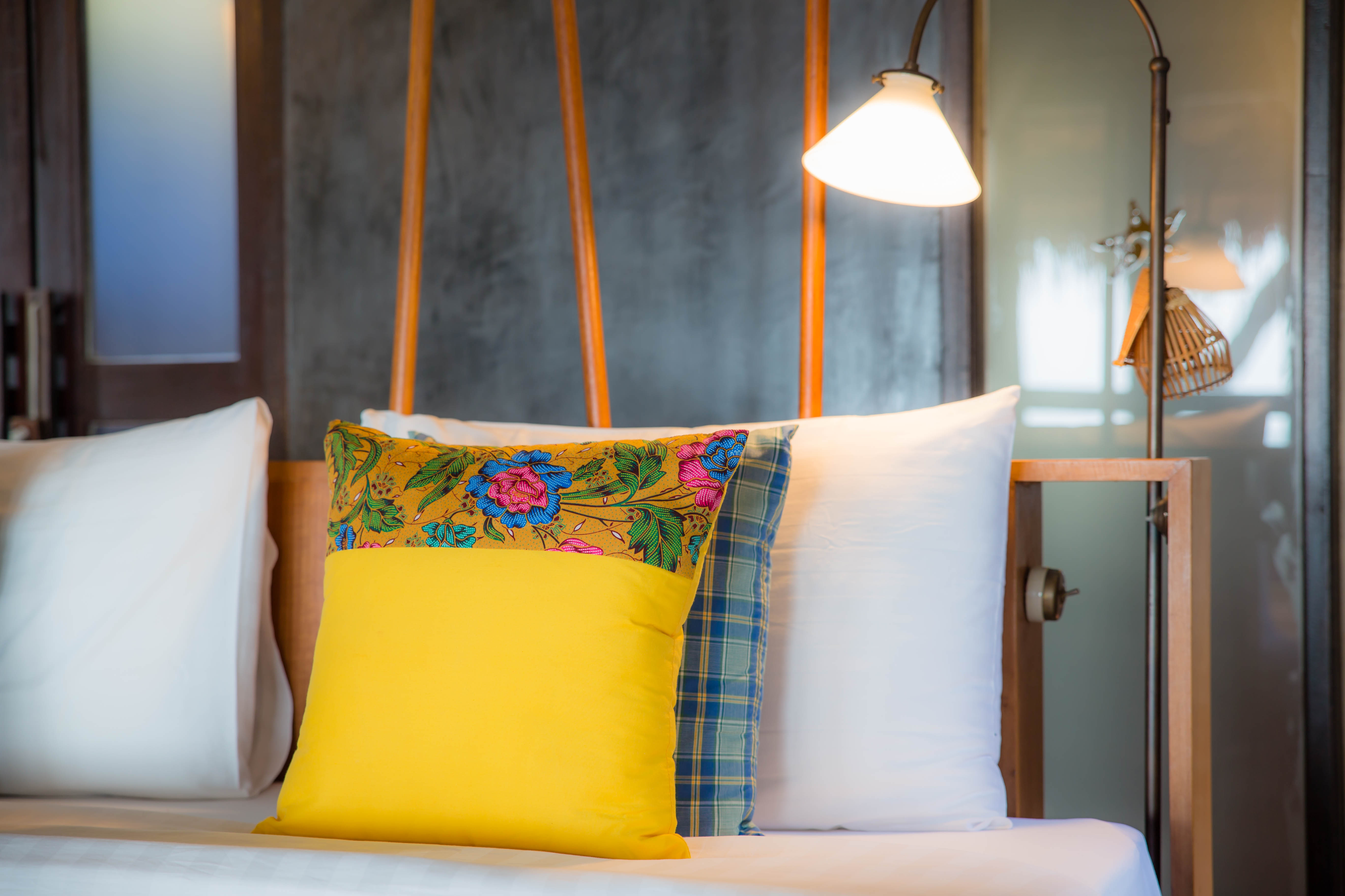 Pillows, mattresses orange light sleep